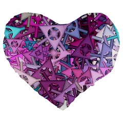 Fun,fantasy And Joy 7 Large 19  Premium Flano Heart Shape Cushions