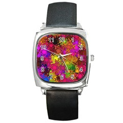 Fun,fantasy And Joy 5 Square Metal Watch