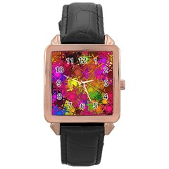 Fun,fantasy And Joy 5 Rose Gold Leather Watch