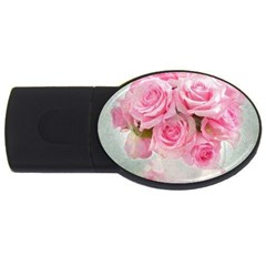 Pink Roses Usb Flash Drive Oval (4 Gb)