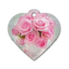 Pink Roses Dog Tag Heart (two Sides)