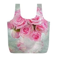 Pink Roses Full Print Recycle Bags (l)