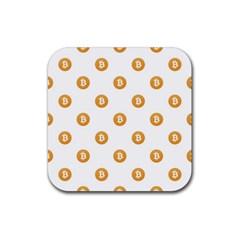 Bitcoin Logo Pattern Rubber Coaster (square)