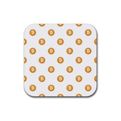 Bitcoin Logo Pattern Rubber Square Coaster (4 Pack)