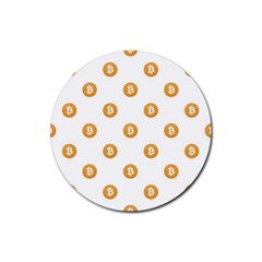 Bitcoin Logo Pattern Rubber Round Coaster (4 Pack)
