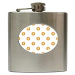 Bitcoin Logo Pattern Hip Flask (6 oz) Front