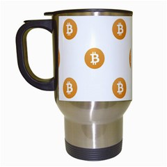 Bitcoin Logo Pattern Travel Mugs (white)