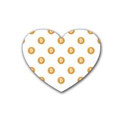 Bitcoin Logo Pattern Rubber Coaster (heart)