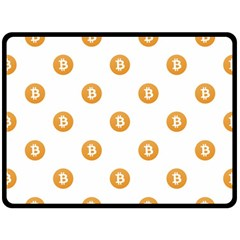 Bitcoin Logo Pattern Double Sided Fleece Blanket (large)