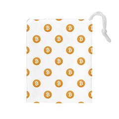 Bitcoin Logo Pattern Drawstring Pouches (large)