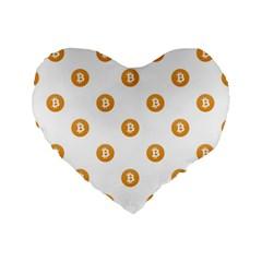 Bitcoin Logo Pattern Standard 16  Premium Flano Heart Shape Cushions