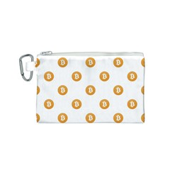 Bitcoin Logo Pattern Canvas Cosmetic Bag (s)