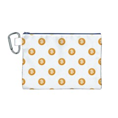 Bitcoin Logo Pattern Canvas Cosmetic Bag (m)