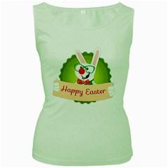 Happy Easter Smart Bunny Women s Green Tank Top