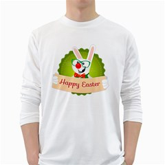 Happy Easter Smart Bunny White Long Sleeve T Shirts
