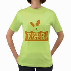 Happy Easter White Bunny Women s Green T Shirt