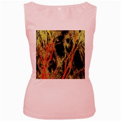 Artistic Effect Fractal Forest Background Women s Pink Tank Top