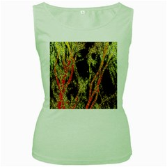 Artistic Effect Fractal Forest Background Women s Green Tank Top
