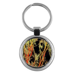Artistic Effect Fractal Forest Background Key Chains (round)