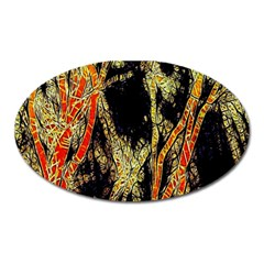 Artistic Effect Fractal Forest Background Oval Magnet