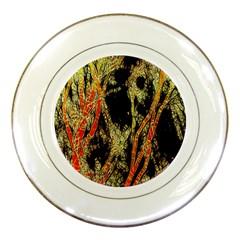 Artistic Effect Fractal Forest Background Porcelain Plates