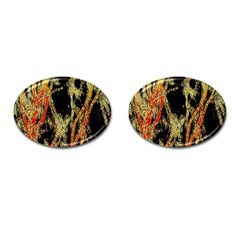 Artistic Effect Fractal Forest Background Cufflinks (oval)