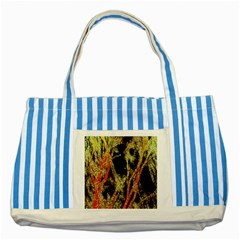 Artistic Effect Fractal Forest Background Striped Blue Tote Bag