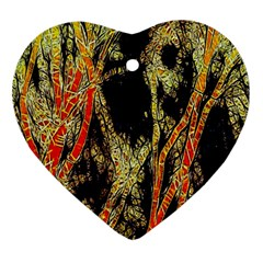Artistic Effect Fractal Forest Background Heart Ornament (two Sides)