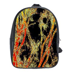 Artistic Effect Fractal Forest Background School Bag (large)