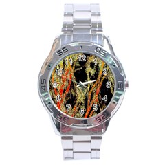 Artistic Effect Fractal Forest Background Stainless Steel Analogue Watch
