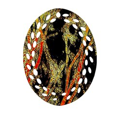 Artistic Effect Fractal Forest Background Oval Filigree Ornament (two Sides)