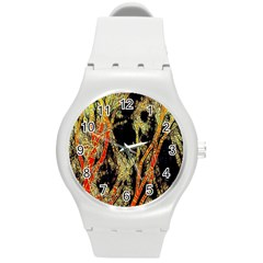 Artistic Effect Fractal Forest Background Round Plastic Sport Watch (m)