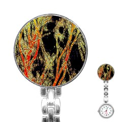 Artistic Effect Fractal Forest Background Stainless Steel Nurses Watch