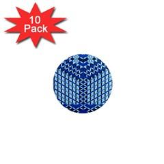 Flower Of Life Pattern Blue 1  Mini Magnet (10 Pack)