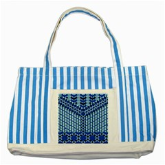 Flower Of Life Pattern Blue Striped Blue Tote Bag