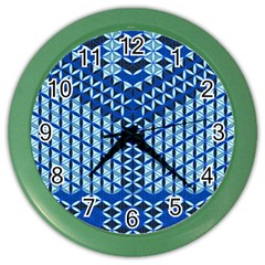 Flower Of Life Pattern Blue Color Wall Clocks