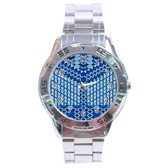 Flower Of Life Pattern Blue Stainless Steel Analogue Watch
