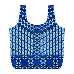 Flower Of Life Pattern Blue Full Print Recycle Bags (l)