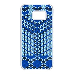 Flower Of Life Pattern Blue Samsung Galaxy S7 White Seamless Case
