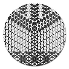 Flower Of Life Grey Magnet 5  (round)