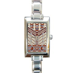 Flower Of Life Pattern Red Blue Rectangle Italian Charm Watch