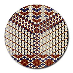 Flower Of Life Pattern Red Blue Round Mousepads