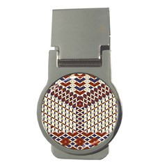 Flower Of Life Pattern Red Blue Money Clips (round)