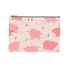 Pigs And Flowers Cosmetic Bag (large)