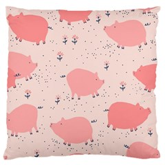 Pigs And Flowers Large Flano Cushion Case (one Side)