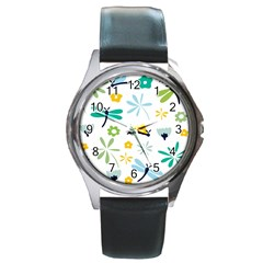 Busy Dragonflies Round Metal Watch