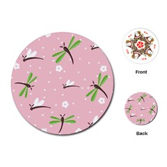 Dragonfly And White Flowers Pattern Playing Cards (round)