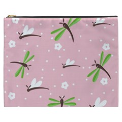 Dragonfly And White Flowers Pattern Cosmetic Bag (xxxl)