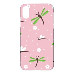 Dragonfly And White Flowers Pattern Apple Iphone X Hardshell Case