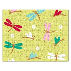 Colorful Dragonflies And White Flowers Pattern Rectangular Jigsaw Puzzl